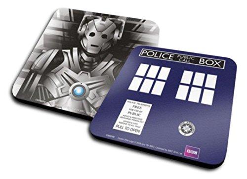 Set Di 2 Sottobicchieri: Doctor Who - Tardis + Cyberman (10x10 cm)