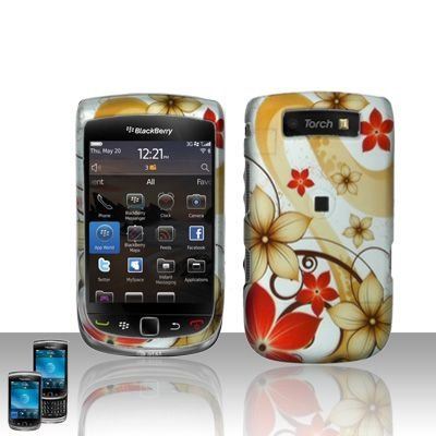 Blackberry 9800 Torch Red Flowers Snap-on Phone Protector Hard Cover Case + Bonus 5.5 inch Baby Blue Phone Cleaning Cloth