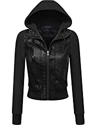 FPT Womens Faux Leather Zip-Up Jacket…