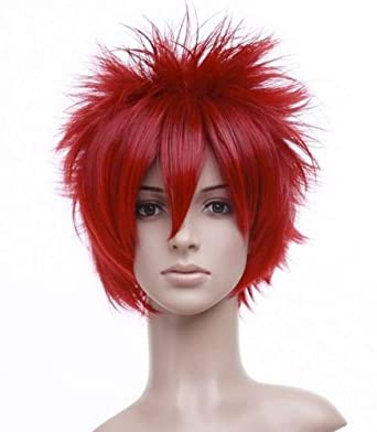 Spiky Deep Red Short Length Anime Cosplay Costume Wig