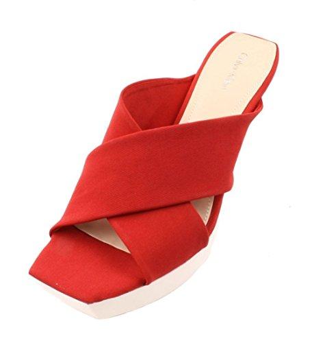Calvin Klein Shyna Womens Scarlett/White Platform Wedge Sandals