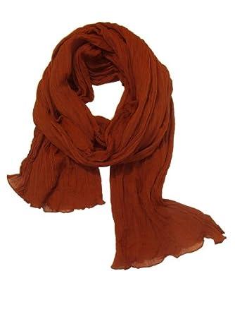 Chèche Écharpe Double Très Long 3 Mètres 100% coton Foulard orange rouille