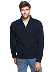 2in Longer North Coast Zip Neck Knitted Jumper with Wool
