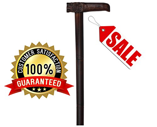 Today's SALE 60% Off - The King Cane - SouvNear Lion Walking Stick - Hand-Carved Wooden Walking Cane / Stick in Light Brown with Carving of Lion at the Handle - Detachable Stick