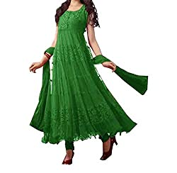 Decent World Green Georgette Gorgeous Dress Material