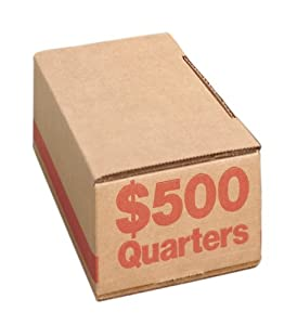 PM Company Securit Quarter Corrugatged Roll Coin Boxes, Orange, 50 Per Bundle (61025)