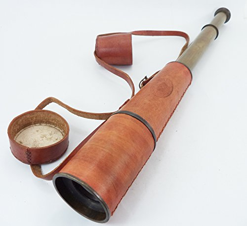 """Large Size 34.5"""" Leather Encased Brass Telescope With Leather Safe Cap And Belt, Nautical Telescope , Vintage Telescope , Antique Telescope , Telescope"""