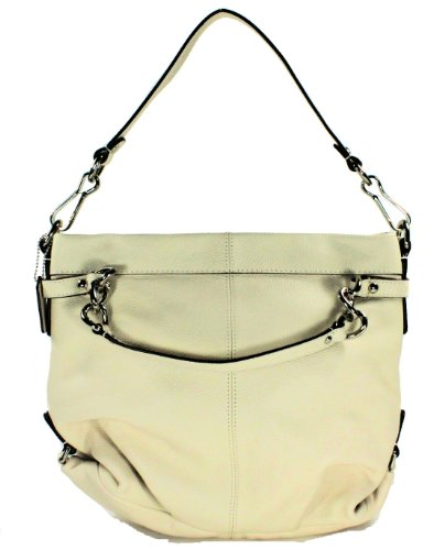 Coach   Coach Leather Brooke Hobo Bag 17165 Silver White