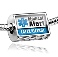 "Neonblond Beads Medical Alert Blue ""Latex Allergy"" - Fits Pandora Charm Bracelet from NEONBLOND Jewelry & Accessories"