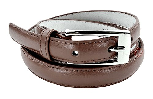 New Classy Womens Skinny Leather Belt with Shiny Buckle - Brown Small
