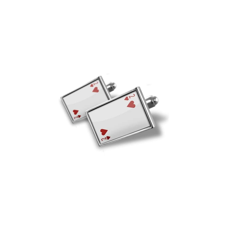 b5341c051f939 Neonblond Cufflinks Two hearts Deuce / card game cuff links for man ...