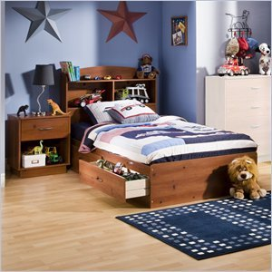 Cheap South Shore Logik Kids Sunny Pine Twin Wood Mates Storage Bed 3 Piece Bedroom Set (3342213-3PKG)