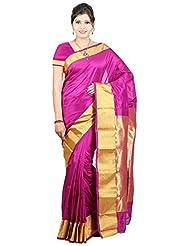 Sneha Silk Kendra Women's Kanjeevaram Art Silk Saree With Blouse Piece (SSK132A, Magenta)