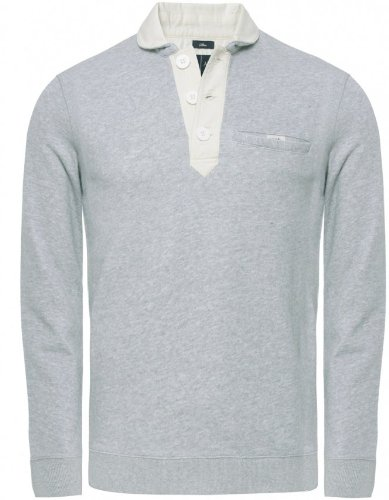 Armani Jeans Men's Sweater Light Grey Half Button Sweatshirt L
