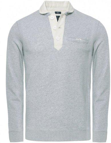 Armani Jeans Men's Sweater Light Grey Half Button Sweatshirt M