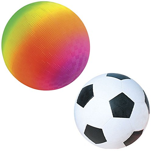 Rainbow Kickball And Rubber Soccer Ball Set - One 18 inch Jumbo Kickball And One 14 inch Soccer Ball - Perfect For Indoors, Outdoors, Beach, Swimming Pool - For All Ages. (Teal Zebra Party Supplies compare prices)
