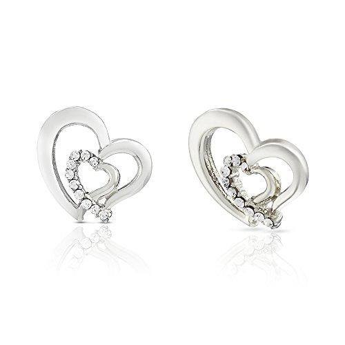 Mahi Valentine Love Rhodium Plated White Heart Earrings Made With Swarovski Elements For Women ER1194117RWhi