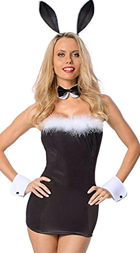 [Anmengte Halloween Masquerade Party Costume Lingerie Sexy Bunny Girl Bodysuit Sets (One size,] (Indian Policeman Costume)
