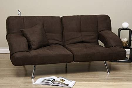 Dark Brown Microfiber Modern Sofa Bed Couch Chrome