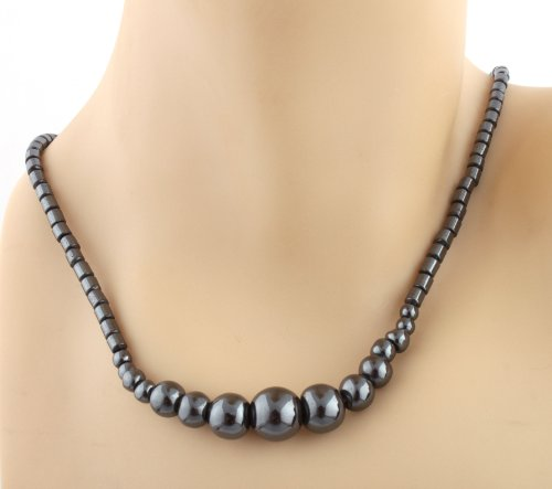 Ladies Black Multi Sized Solid Balls 18 Inch Chain Necklace