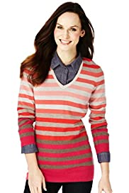 Pure Cashmere V-Neck Striped Knitted Tunic