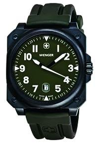 Wenger 72422 - Reloj analógico de cuarzo para hombre, correa de goma color verde