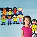 Fun Express Plush Happy Kids Hand Puppets Multi-Ethnic Collection Novelty (Set of 8) (Tamaño: 1-Pack of 8)