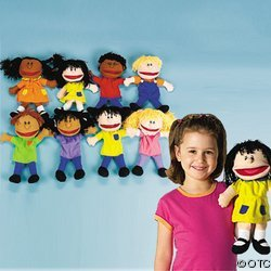 Plush Happy Kids Hand Puppets Set-8 pc- Multi-Ethnic Collection
