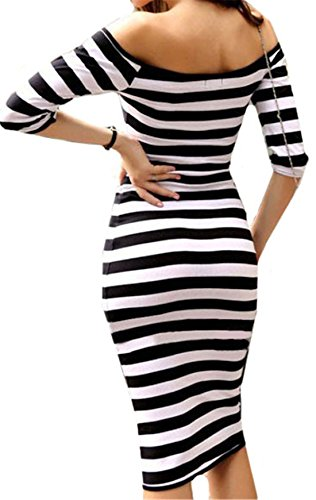 SunFashion Womens Black Boat Neck Striped Bodycon Dress