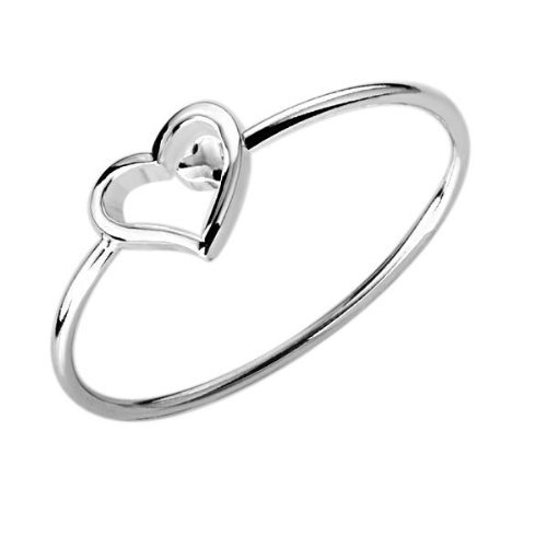 Hot Gift Woman Classic Silver Solid Heart-Shaped