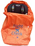 INTRODUCTORY PRICE OFFER - The #1 Most Trusted Car Seat Travel Bag - DURABLE DOUBLE STRENGTH Polyester with Drawstring Closure with Carrying Handle, Bright Orange with Blue Markings. Water Resistant, Lightweight w/Free Carrying Pouch- Great for Airport, Airplane Gate Check, Car Trips, and Storage by Alnoor USA - Fits Carseats, Booster Seats, Infant Carriers, and more