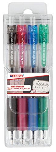 Edding 2190 - Bolígrafos de gel de diferentes colores (Pack de 4)