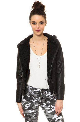 Bb Dakota Women'S Belmont Faux Suede And Shearling Lined Hooded Jacket Large Black