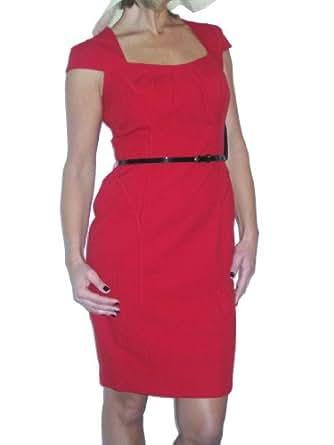(3947) elegant chelsea style washable dress + belt evening red 10-20 (10)
