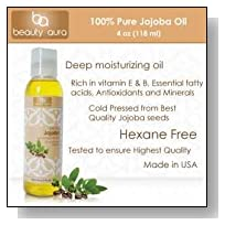 Beauty Aura #1 100 % Pure Jojoba Oil Is Cold Pressed From Best Quality Jojoba Seeds (4 Fl Oz)