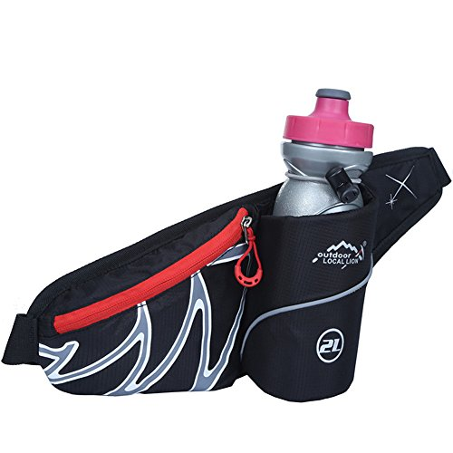 Sunhiker Y6611 Fanny Pack Water Resistant Waist Pack with Water Bottle Holder (The Bottle Is Not Included) for Outdoor sports, Running Cycling Hiking Waist Bag Runners Water Bottle Bag (Black)