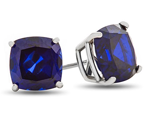 14kt-White-Gold-7x7mm-Cushion-Shape-Stone-Post-With-Friction-Back-Stud-Earrings