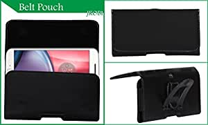 Jkobi Exclusive Belt Case Mobile Leather Carry Pouch Holder Cover With Belt Clip Compatible For Panasonic Eluga S -Black