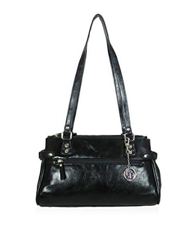 La Diva Women's Zip Top Satchel, Black