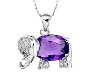findout or blanc 18 carats plaqué Super Flash autrichienne améthyste diamant éléphant Collier en argent