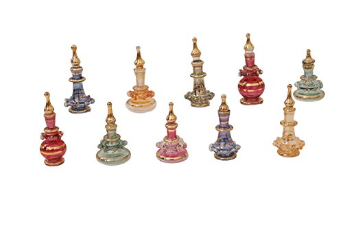 Egyptian perfume bottles Set of 10 extremely tiny hand Blown Decorative Pyrex Glass Vials Height 1 inch ( 2.5 cm ) by CraftsOfEgypt (Tiny Apothecary Bottles compare prices)