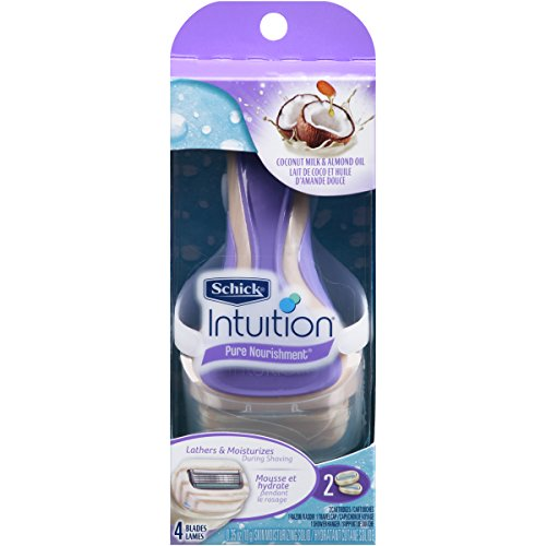 Schick Intuition Pure Nourishment Razor for Women with 2 Moisturizing Razor Blade Refills with Coconut Milk and Almond Oil