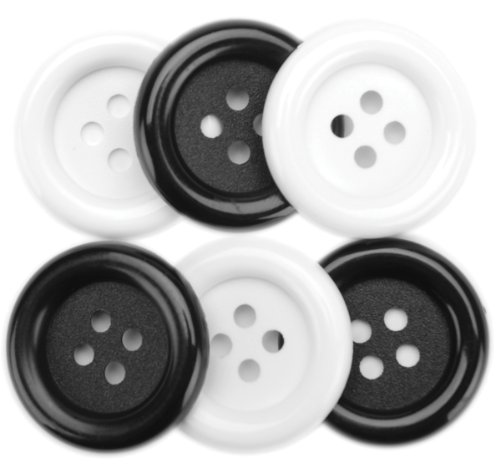 Black & White Favorite Findings Big Buttons 6/Pkg 5500BIG-465