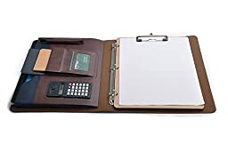 Designer 3 Ring Binder Portfolio Case with Clipboard, Mini Calculator and Tablet Pouch, Coffee