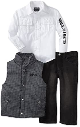 Kenneth Cole Little Boys' Printed Puffy Vest Set, Gray, 5
