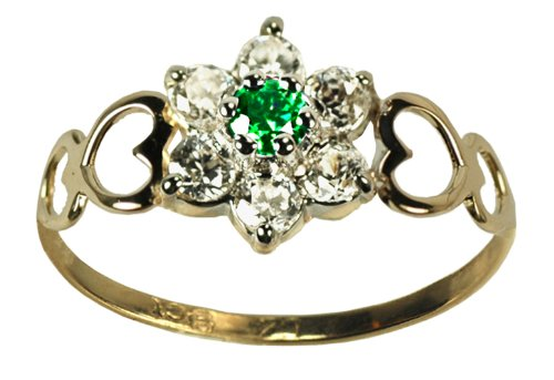 9ct Yellow Gold Created Emerald & Cz May Birthstone Ring