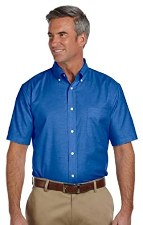 Harriton Men 39 S Short Sleeve Button Down Collar Oxford Shirt