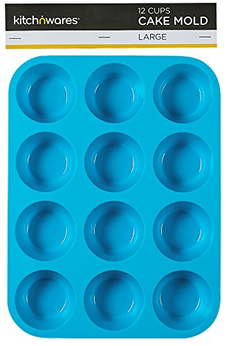 Large Silicone Muffin & Pan - Non-Stick, BPA-free Food Grade Mold / Baking Tray - Heat Resistant up to 450° - Dishwasher & Microwave Safe, Bakeware, Easy to Clean (Blue) - By Kitch N' Wares (Nonstick Large Muffin Pans compare prices)