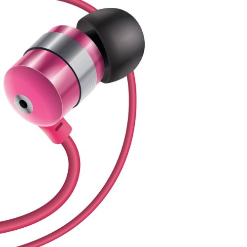Gogroove Audiohm Earbuds Earphones With Deep Bass & Interchangeable Noise Isolating Ergonomic Ear Gels (4 Sizes) For Smartphones , Tablets , Mp3 Players , Phones & More - Metallic Pink