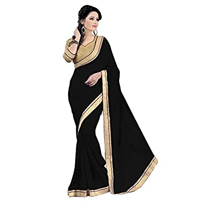 Janasya Women's Georgette Saree(JNE0128_Black)